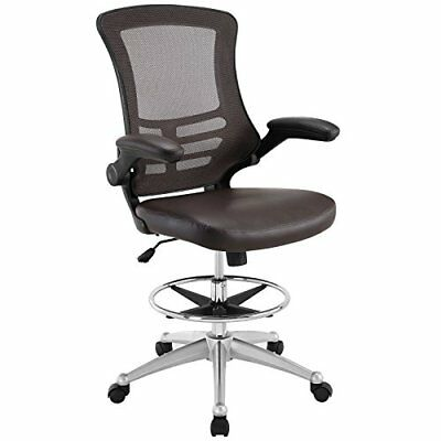 Modway Attainment Drafting Chair In Brown - Reception Desk Chair - Tall Office C
