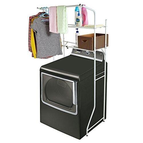 Width Adjustable 2-Shelf White Metal Space Saver Unit Utilit