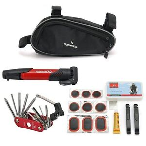 Bicycle Bike Cycling Repair Tools Cycle Maintenance Kits Set With Pouch Pump Red