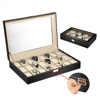 6/10/12/20/24 Slots Watch Box Top Jewelry Storage Display Case Organizer Large