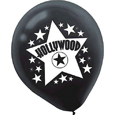 Amscan Hollywood and White Printed Latex Balloons, 12