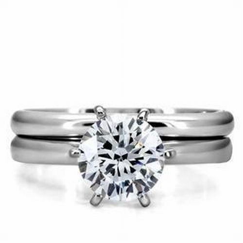 Stainless Steel Round  CZ Solitaire Wedding Engagement Promi