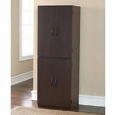 Four Door Storage Highboy Pantry Cupboard Shelves Kitchen Office Adjustable New