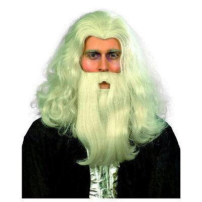 Gray Merlin Wizard Wig and Beard Set - Grey Wig And Beard