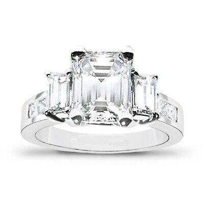 2.06 Ct. 3 Stone Emerald Cut & Princess Diamond Engagement Ring H,VS2 GIA 14K