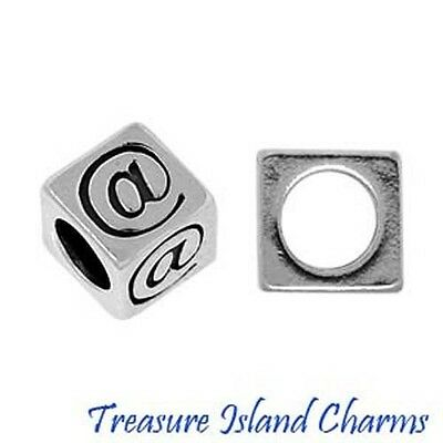 Email Sign  At  925 Solid Sterling Silver Block Bead 5 8Mm 3 8Mm Hole Diameter