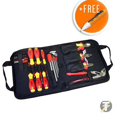 Wiha 38528 Electricians 12pc Vde Tool Kit-screwdriversplierscutters Voltstick
