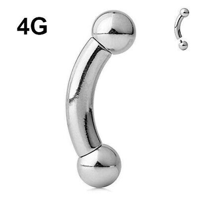 4G INTERNALLY THREADED SURGICAL STEEL BALL CURVED BARBELL PRINCE ALBERT PIERCING