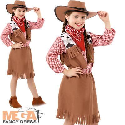 Cowgirl Girls Fancy Dress Wild West Western Rodeo Texas Kids Childrens Costume