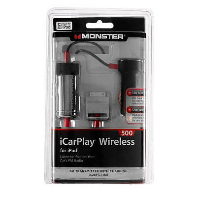 Monster iCarplay Wireless 500 FM Transmitter Car Charger iPod iPhone FM Presets