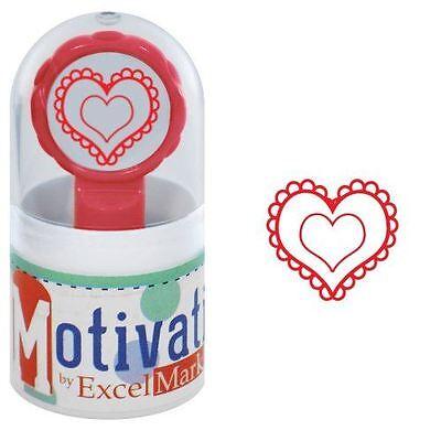 New Excelmark Motivations Pre Inked Teacher Stamp Valentines Heart Red Ink
