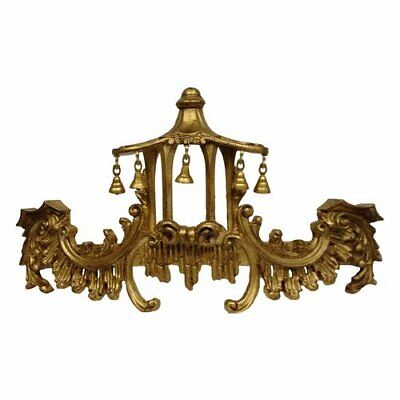 Amazing CHINOISERIE Chippendale Gold PAGODA BED CROWN + Drapes Bells Made in US
