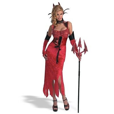 Devil Dame Satan Demon Lucifer Cute Red Dress Up Halloween Sexy Adult Costume
