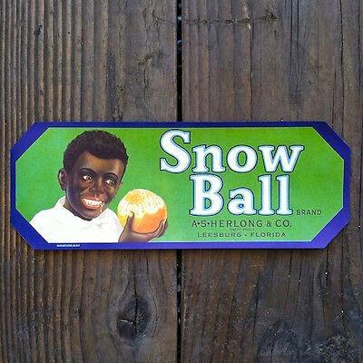 Original 1940 BLACK AMERICANA SNOW BALL Florida ORANGE Fruit Crate Box Label NOS