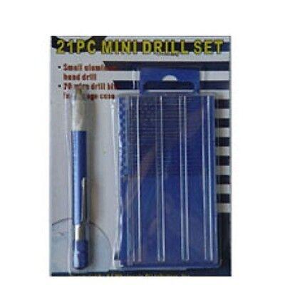 21pc Mini Drill Bit Set Index Case Aluminum Hand Drill Model