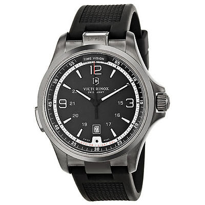 Victorinox Swiss Army 241596 Night Vision GMT Black Dial Rubber  Mens Watch