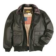 Navy Leather Flight Jacket