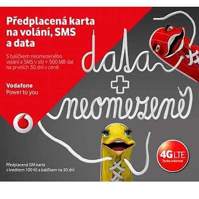 Vodafone Czech Republic Prepaid Sim Card   Credit 100 Czk 1 2Gb Data Free