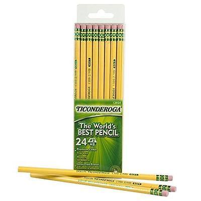 Dixon Ticonderoga Wood-Cased #2 HB Pencils, Box of 24, Yellow (13924) New