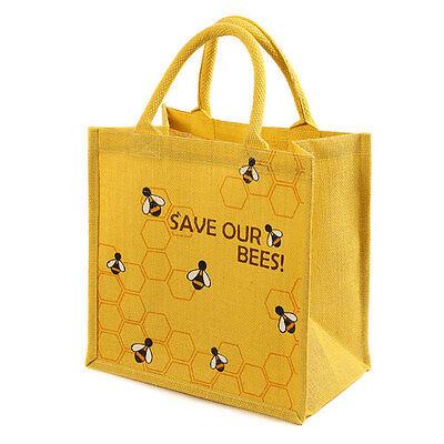- SAVE OUR BEES YELLOW JUTE SHOPPING BAG fair trade eco friendly shopper NEW!
