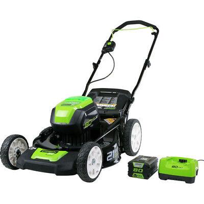 Greenworks GLM801602 Pro 80V Li-Ion 21 in. 3-in-1 Lawn Mower 2501202 New