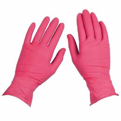200box Topquality Nitrile Latex Free Hypoallergenic Medical Gloves Pink Large
