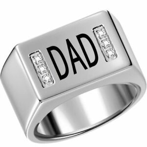 Stainless Steel Ring DAD with CZz - SZ 13