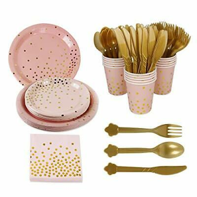 168pcs Pink Gold Party Supplies Disposable Tableware - Paper Dinnerware Paper...
