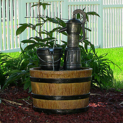 SUNNYDAZE OLD FASHIONED WATER PUMP WITH BARREL SOLAR-ON-DEMAND WATER FOUNTAIN - Old Fashioned Pump Fountain