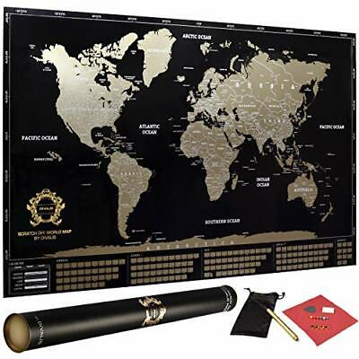 Detailed Scratch Off World Map Poster - XL - Black And Gold Scratchable World... - $50.70