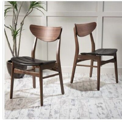 - 2 Leather Wood Dining Office Chairs Set Curved Back Kitchen Seat Walnut Finish