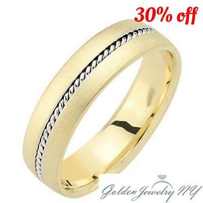 Mens Womens Solid 14K Gold Handmade Comfort Fit Wedding Band 6MM SIZE 4-14. 14k Gold Womens Wedding Band 6mm