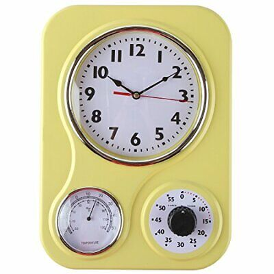 Retro Kitchen Wall Clock, with a Thermometer and 60-Minute Timer, Ideal for Any