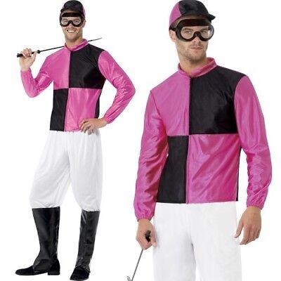 Jockey Outfit (Mens Jockey Fancy Dress Costume Horse Racing Outfit Pink/Black by Smiffys)