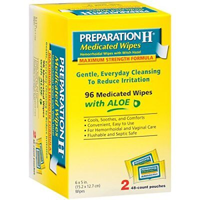 Preparation H Medicated Hemorrhoidal Wipes with Witch Hazel and Aloe 96 Ct (Hemorrhoidal Wipes With Witch Hazel)