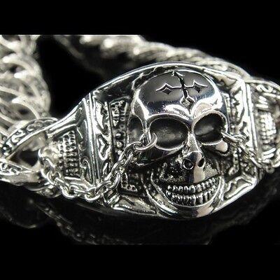 Silver Classic Rolo Chain Gothic SKULL CROSS Rock Bracelet for Harley (Harley Bracelets)
