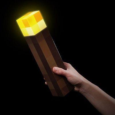 Minecraft Torch Light Up Bright Children Kids Fun Toy Wall Mountable Read Lamp