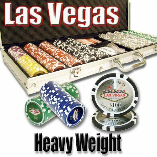 500ct. Las Vegas Casino 14g Poker Chip Set in Aluminum Metal Carry Case