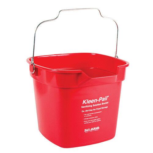 San Jamar KP320RD Sanitizing Solution Red Safety Pail 10 Qt., With Pour Spout