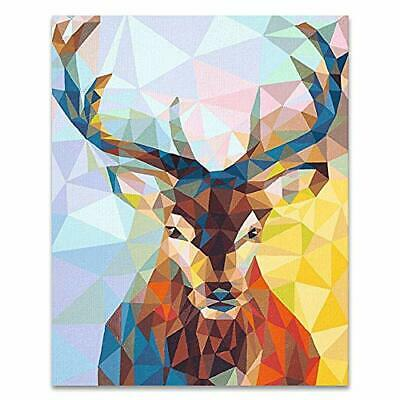 """DIY Oil Painting Kit Paint by Number for Adults Beginner Kids 16""""x20"""" Color Deer"""