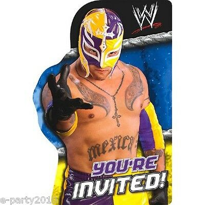 WWE WRESTLING INVITATIONS (8) ~ Birthday Party Supplies Stationery Invites Cards