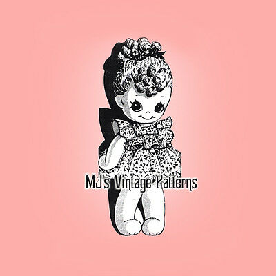Vintage Sock Doll Pattern ~ Cute Girl with Ringlets