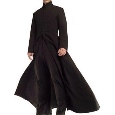 Mens Matrix Neo Keanu Reeves Wool Cape Long Woolen Black Trench Coat | All sizes