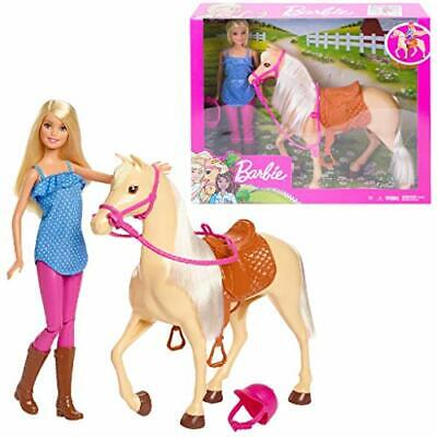 Barbie Doll, Blonde, Wearing Riding Outfit with Helmet, and Light Brown Horse wi