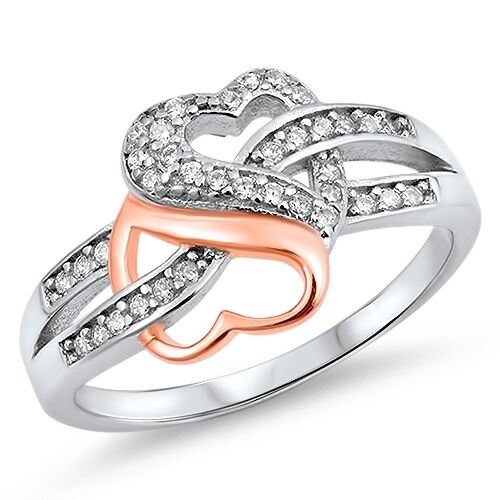 .925 Sterling Silver Rose Gold Plated Heart Infinity Knot CZ