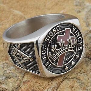 Knights-Templar-Masonic-Ring-Cross-Crown-Master-Freemason-Square-G-Size-9-13
