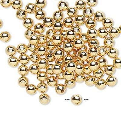 - Gold plated brass smooth round spacer beads 3mm 4mm beads choose quantity