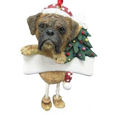 Boxer Brindle Uncropped Dangling Wobbly Leg Dog Bone Christmas Ornament