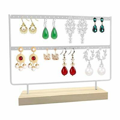 Earrings Organizer - 46 Holes 2 Layers Jewelry Display Wood Stand White