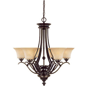 6-Light Iron & Glass Chandelier – Brand New, Never Installed